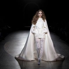 Mini cocoon wedding dress with long cape, by Stephane Rolland, A/W 2010 Collection.