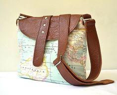 Leather Messenger  World Map Cotton Fabric Messenger Bag Shoulder Bag Hand Bag Mint Green Travel Bag Turquoise Brown Tan Beige Yellow Orange. $78.00, via Etsy.