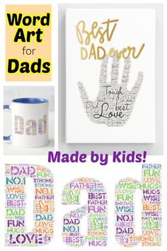 Learn how school-aged kids can make some awesome Father's Day gifts out of word art. Perfect for last minute but personalized gifts!