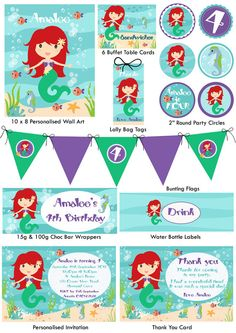 Mermaid Party Printable Pack by TweetPartyBoutique on Etsy