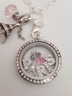 Origami Owl PARIS DREAM Large Crystal Locket With Charms & Dangle
