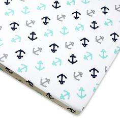 Baby Bedding > Wendy Bellissimo™ Mix & Match Anchor Fitted Crib Sheet in Grey/Teal from Buy Buy Baby