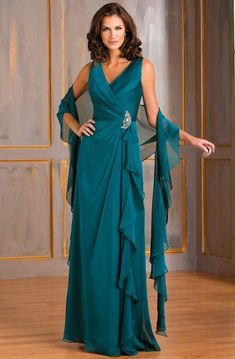 Cap-Sleeved V-Neck A-Line Mother Of The Bride Dress With Appliques And Illusion Back - UCenter Dress