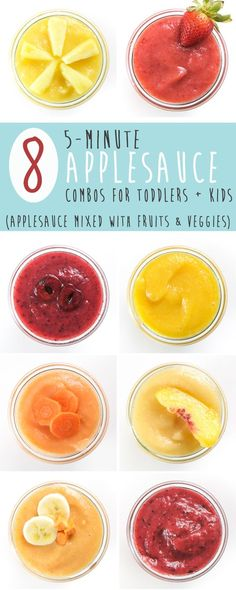 These 8 delicious 5-Minute Applesauce Combos for Toddlers + Kids are so good, they will knock your kids socks off! No more plain ol' applesauce every day, let's have some fun and mix it up. These combos are filled with healthy fruits and veggies (!!!) and are perfect for an easy snack, a side dish for lunch or even a quick breakfast on-the-go.