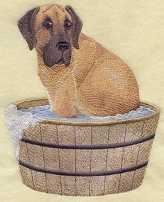 Embroidered  great dane in bathtub quilt block,fabric,cushion panel,wall art,dog