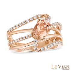 Le Vian® Morganite and 0.43 CT. T.W. Diamond Ring in 14K Strawberry Gold™  - Peoples Jewellers