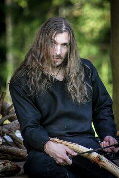 Black linen shirt for men, medieval shirt, Viking period shirt, Folk metal band clothing by LuckyShirts