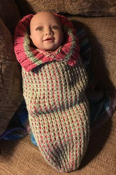 Shadow hat pattern made into a Newborn Cocoon