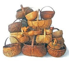 Large group of baskets, most pennsylvania, and century, Of various sizes and forms, most gathering type. Old Baskets, Vintage Baskets, Wicker Baskets, Woven Baskets, Primitive Antiques, Primitive Crafts, Nantucket Baskets, Shaker Furniture, Bamboo Basket