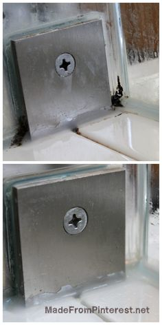 This is THE solution for shower mold in impossible to reach places. I didnt even have to scrub! MadeFromPinterest.net