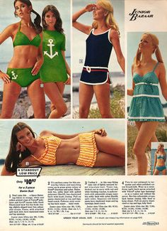 Baby doll swimsuits!  Really love the navy suit.