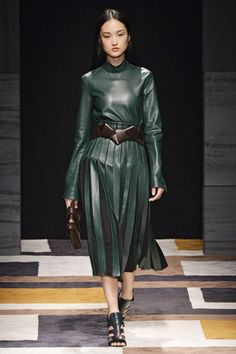 "Rachel Zoe's Top Looks From Milan Fashion Week | The Zoe Report Salvatore Ferragamo ""Ferragamo's take on a leather dress is the definition of elegance."""