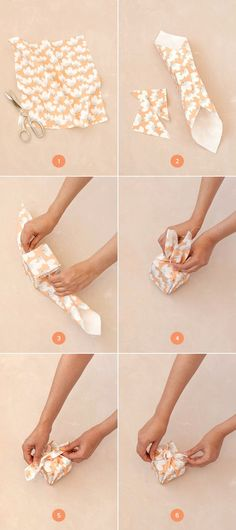 Knotted Fabric-Wrapped Favor Boxes Our wedding favor: cookies wrapped in Gav's/Hawaiian blue-handmade furoshiki Wrapping Ideas, Diy Gift Wrapping Tutorial, Creative Gift Wrapping, Creative Gifts, Present Wrapping, Craft Gifts, Diy Gifts, Useful Gifts, Japanese Gifts