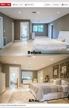 I love the before, however, that old fashion Chester drawers, picture frame, & rug RUIN the beautiful, modern, minimalism of the bed and room‼️