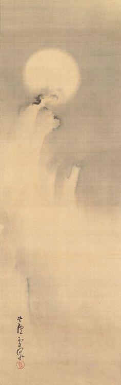 Rosetsu Nagasawa, Moon and cloud (18th century)