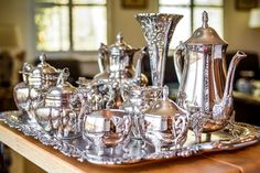How to Clean Silver - Tea Set - Ideas of Tea Set - How to Clean and Care for a Silver-Plated Tea Set Deep Cleaning Tips, House Cleaning Tips, Cleaning Hacks, Silver Trays, Silver Plate, Silver Tray Decor, Clean Sterling Silver, Tee Set, Silver Tea Set