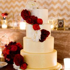 Ombre gold and glitter wiedding cake with rich red cabbage roses | Photographer: averyhouse | Bittersweet Pastry Shop & Cafe | www.theknot.com