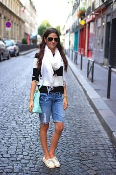 Striped sweater, jean shorts, mint purse