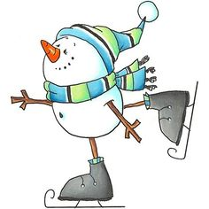 Snowman on skates Watercolor Christmas Cards, Christmas Drawing, Christmas Paintings, Watercolor Cards, Christmas Doodles, Christmas Clipart, Christmas Pictures, Christmas Ornaments, Snowman Images