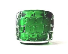 Skrdlovice Glaskunst. Frantisek Vizner. 1971. Eine große und Excepionally attraktive grüne Kunst Glas Toffee Schale, designed by Frantisek