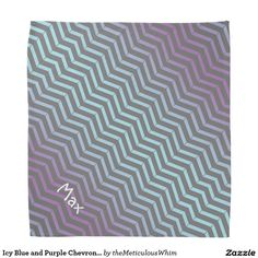 Icy Blue and Purple Chevron Pattern Personalized Bandana