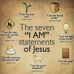 "Bible verses - The seven ""I Am"" statements of Jesus. Christian Life, Christian Quotes, Christian Names, Christian Stories, Bible Scriptures, Bible Quotes, Jesus Bible, Jesus I Am, Catholic Bible Verses"