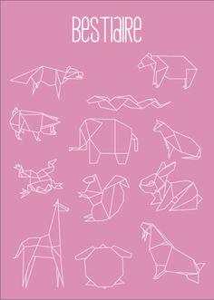 Geometric Animals Art Print by Alix Leroy