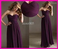 Wholesale 2013 Modest Purple Pleated Chiffon Long Sweetheart Bridesmaid Dress B1984, Free shipping, $69.44-90.72/Piece | DHgate
