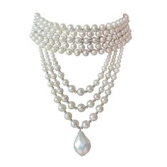 Marina J Stylish Draped Pearl Choker -- choker features 5 - 7 mm pearls beautifully woven with faceted sterling silver (rhodium plated) faceted beads and is finished with elegant graduated pearl drape tapering to a single baroque pearl. Long Choker Necklace, Long Pearl Necklaces, Braided Necklace, Baroque Pearl Necklace, Silver Bead Necklace, Baroque Pearls, Pearl Jewelry, Jewelry Necklaces, Silver Ring
