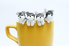 These cute Miniature Schnauzers not only cling to your tea cup or mug or bowl for decoration purpose, but also helping you holding the tea bag from slipping into your hot tea. This can definitely brighten your boring day when she is sitting on your cup. Look, how happy she is playing at your cup!! ^.^ These lovely Dog Teabag Holders are hand sculpted & hand painted by me carefully, using the high-quality polymer clay which is water-resistant. However, in order to keep the durability, ple...