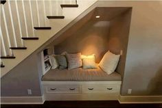 cute idea for under the stairs