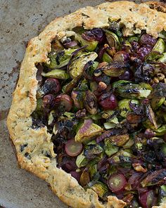 Brussels Sprout & Grape Galette. Two of my favorite things, piled on a wheat crust -- definitely need to try this soon!