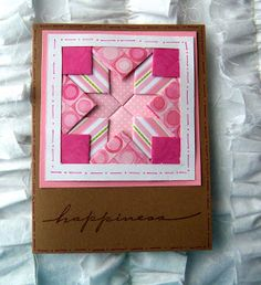 handmade quilt card folded strip technique ... kraft base card ... quilt in patterned papers of warm rosey pink ... luv it!!