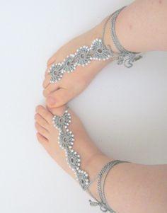 Christmas gift Grey lace bridesmaid barefoot sandal . by asuhan, $15.00