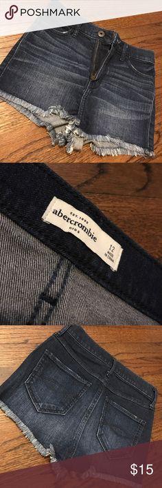 Dark Wash Abercrombie Kids Shorts dark wash, frayed look at ends abercrombie kids Bottoms Shorts