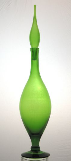 "Blenko #6212 Glass Decanter in Olive Green - Pristine!; 21""H x 8""W"