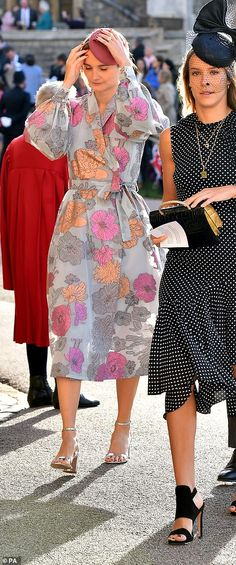 Guests approaching St George's Chapel, which was whipped by gusts of wind as the procession of famous faces arrived I Dress, Peplum Dress, Princess Eugenie And Beatrice, Julian Fellowes, St George's, Demi Moore, Liv Tyler, Saint George, Famous Faces