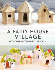awesome DIY Fairy House Village Tutorial (The Busy Budgeting Mama)Last year we threw a Fairy Birthday Party for the girls' and birthday. I created a fun little fairy village for the dessert table and now it is set up in their bedroom! I just realized I Fairy Crafts, Garden Crafts, Garden Projects, Craft Projects, Fairy Village, Village Kids, Fairy Garden Houses, Diy Fairy House, Fairies Garden