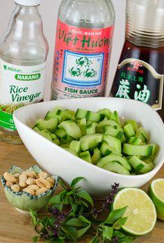 Ingredients for cucumber basil peanut salad