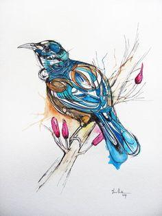 Inked Tui bird Bird Line Drawing, Tui Bird, New Zealand Tattoo, Nz Art, Bird Wall Art, Maori Art, Kiwiana, Bird Illustration, Artist Painting