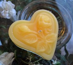 Sunflower Yellow rose floating candle heart shaped set of 12 by GlowliteCandles, $20.00