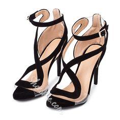 Shoespie Transparency Black Sandals