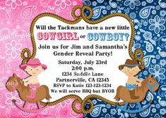 Cowgirl or Cowboy Western Theme Baby Gender Reveal by vmiddleton5, $6.25