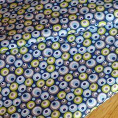 Tissu imprimé 100% coton motifs géométriques - graphiques - retro sur fond bleu marine