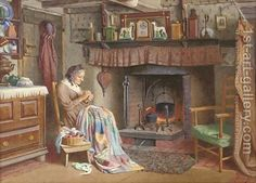 Art Friday: Henry Edward Spernon Tozer 1870 - 1940 British Love these paintings, they are so homely and cosy and I am sure. Illustrations Vintage, Illustration Art, Images Vintage, Vintage Art, Carl Larsson, Creation Photo, Most Famous Paintings, Sewing Art, Oil Painting Reproductions