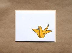 Origami Crane Stationery by PaperoniPress on Etsy, $20.00