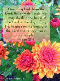 Psalm 27:4   One thing I ask...to dwell in the house of The Lord .