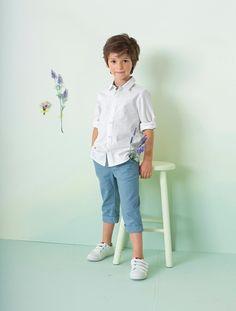 Conjunto camisa + pantalón pesquero niño AZUL OSCURO LISO+BLANCO CLARO LISO