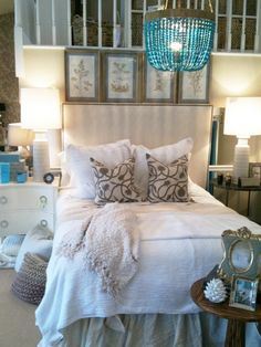 I love white bedding & this blue chandelier! Dream Bedroom, Home Bedroom, Bedroom Decor, Bedroom Setup, Bedroom Ideas, Blue Chandelier, White Bedding, Neutral Bedding, Little Green Notebook