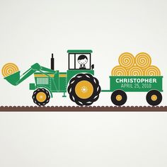 Kids Tractor Wall Decal: Personalized Name Hay Wagon Baby Nursery Children. $65.00, via Etsy.